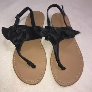 Qupid Sandals Women's 7 Black Satin Bow Shoes